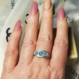 Art Deco Natural Blue Fire Opal Sterling Ring